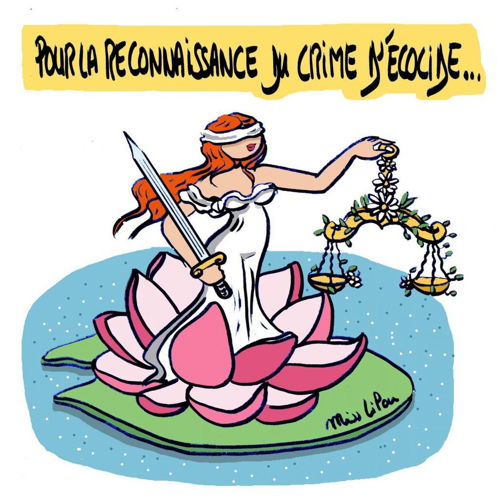 dessin de Miss Lilou sur le crime d'écocide