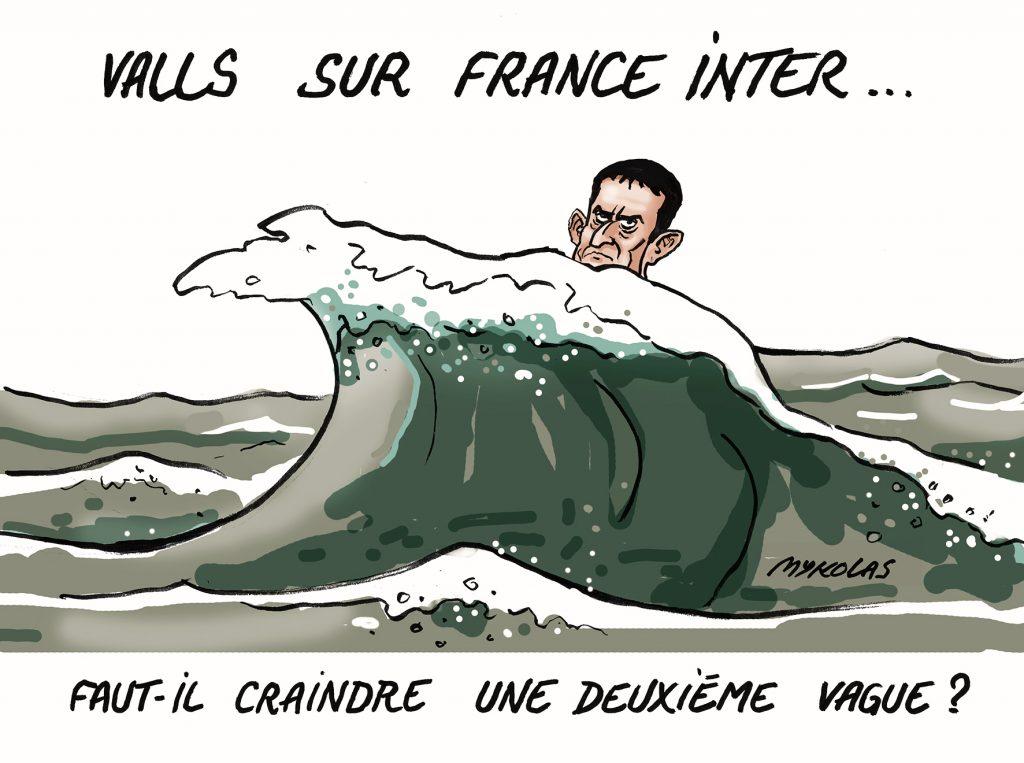 dessin d'actualité humoristique de Mykolas sur l'intervention de Manuel Valls sur France Inter