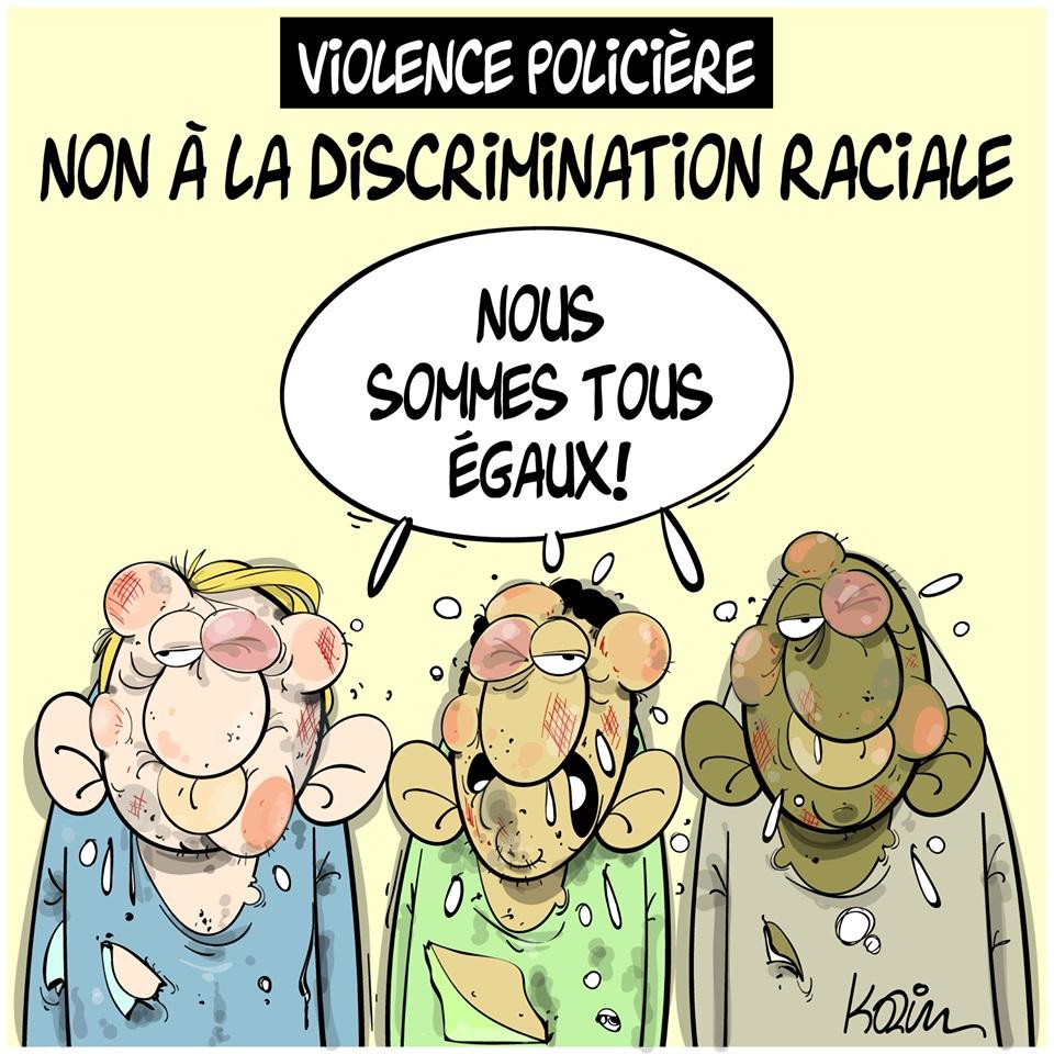 dessin d'actualité humoristique de Karim sur la discrimination raciale et les violences policières