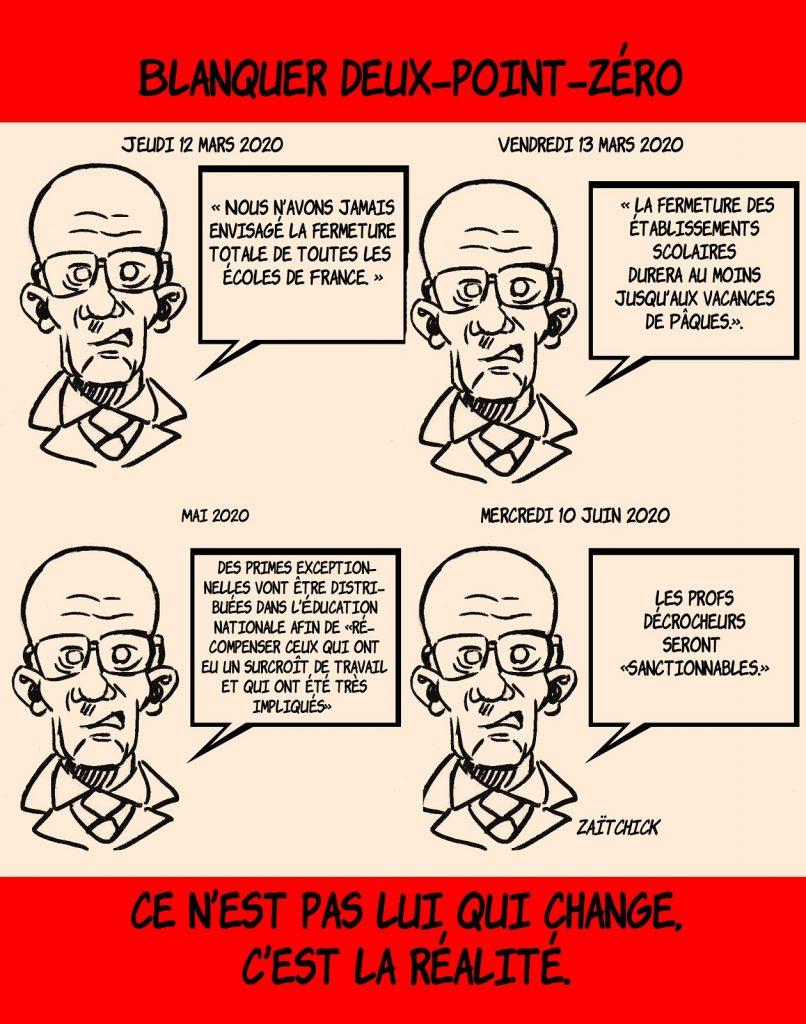 dessin de Zaïtchick sur Jean-Michel Blanquer et la gestion de la communication de crise