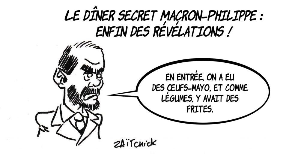 dessin de Zaïtchick sur le dîner secret entre Emmanuel Macron et Édouard Philippe
