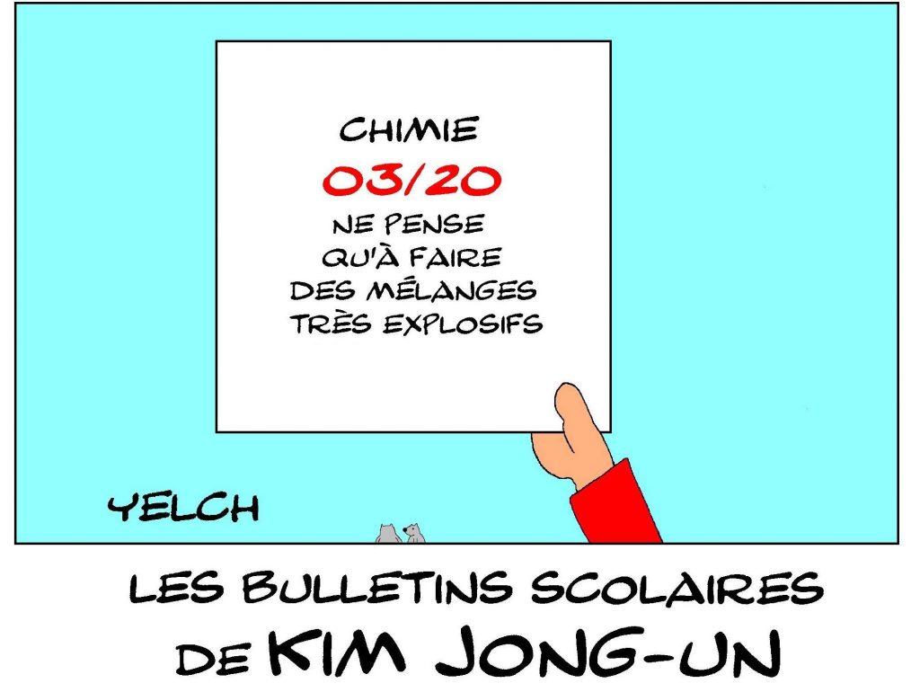 dessin de Yelch sur les bulletins scolaires de Kim Jong-un