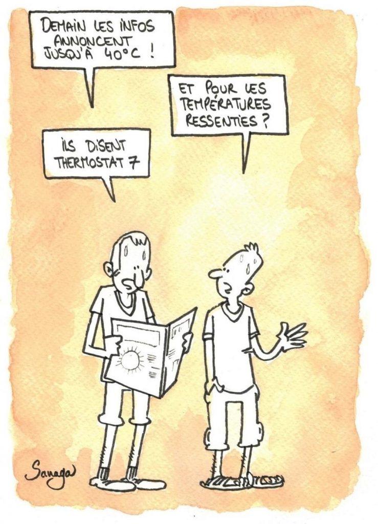 dessin d'actualité de Sanaga sur le pic de chaleur en France