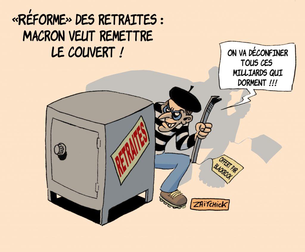 dessin de Zaïtchick sur Emmanuel Macron et la reprise de la réforme des retraites