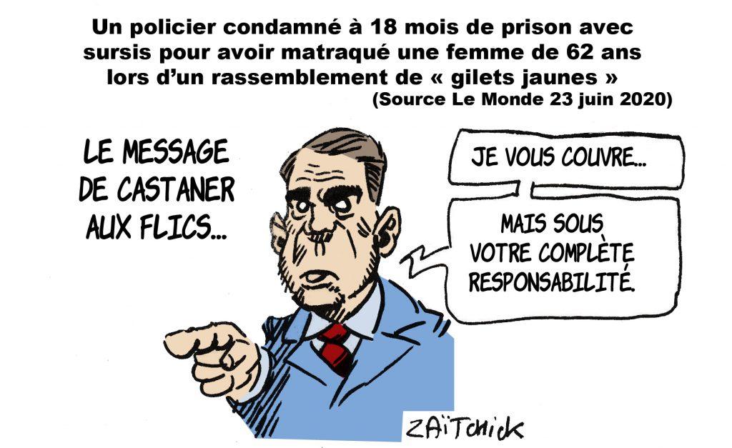 dessin de Zaïtchick sur Christophe Castaner et la condamnation d'un policier pour violence sur une femme de 62 ans