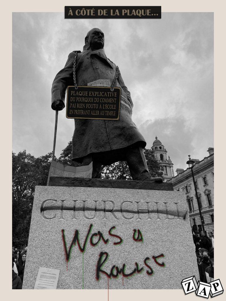 dessin d'actualité de Zap sur le déboulonnage de statues et l'ignorance de l'Histoire