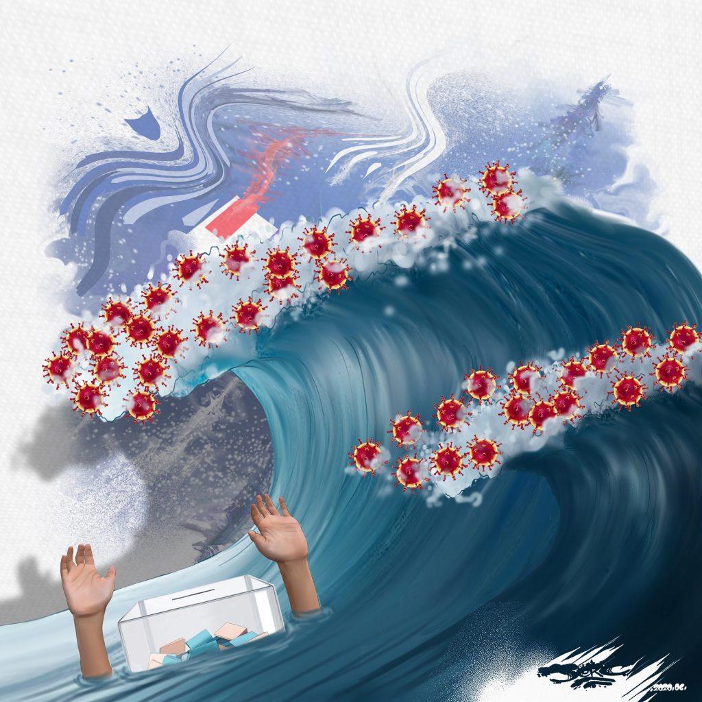 dessin d'actualité humoristique de Jerc sur le deuxième tour des élections municipales et le risque de deuxième vague épidémique