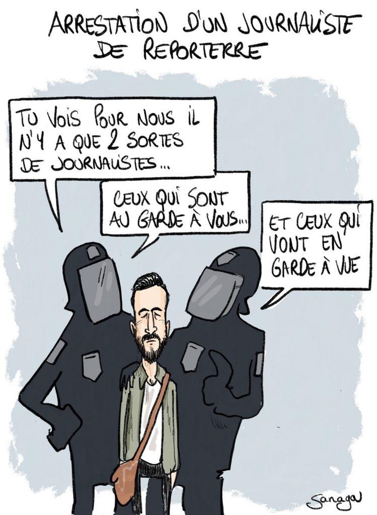 dessin d'actualité de Sanaga sur l'arrestation d'un journaliste de Reporterre lors du blocage de l'aéroport d'Orly