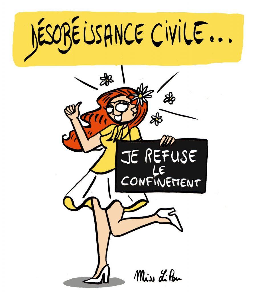 dessin de Miss Lilou sur le coronavirus, la désobéissance civile et la crise du confinement