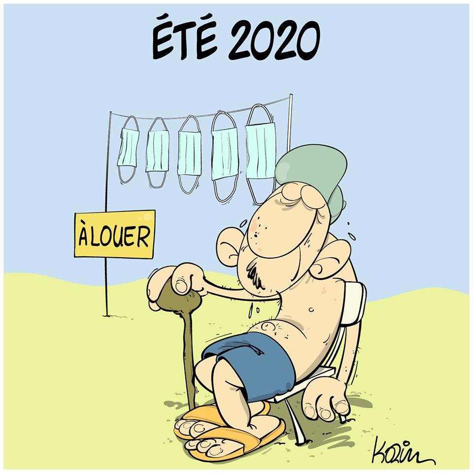 dessin d'actualité humoristique de Karim sur l'été 2020