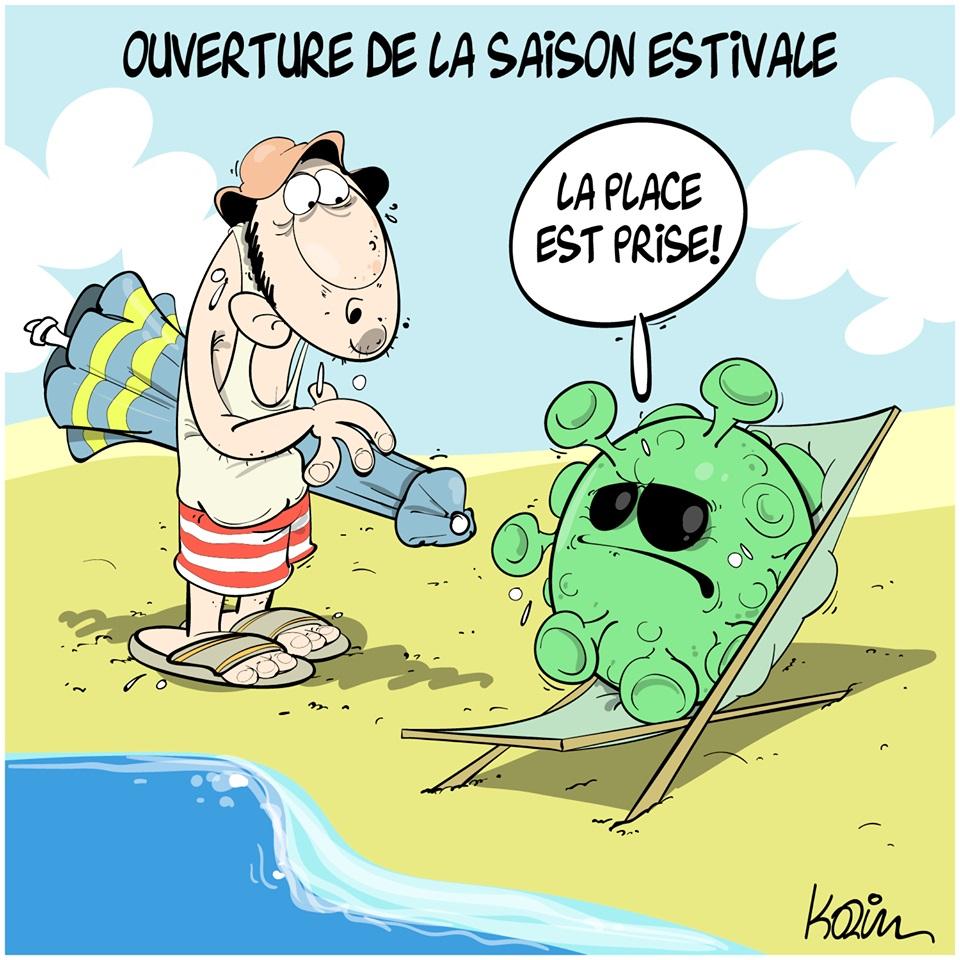 dessin d'actualité humoristique de Karim sur le coronavirus et la saison estivale