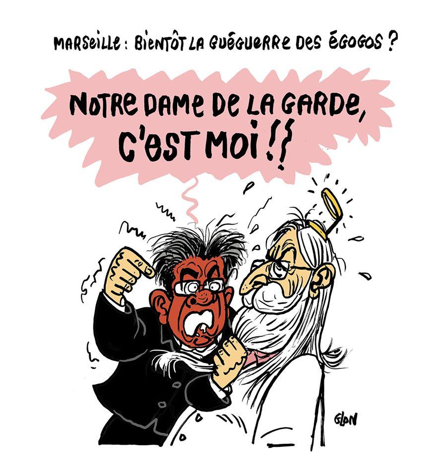 dessin humoristique de Glon sur Didier Raoult et Jean-Luc Mélenchon