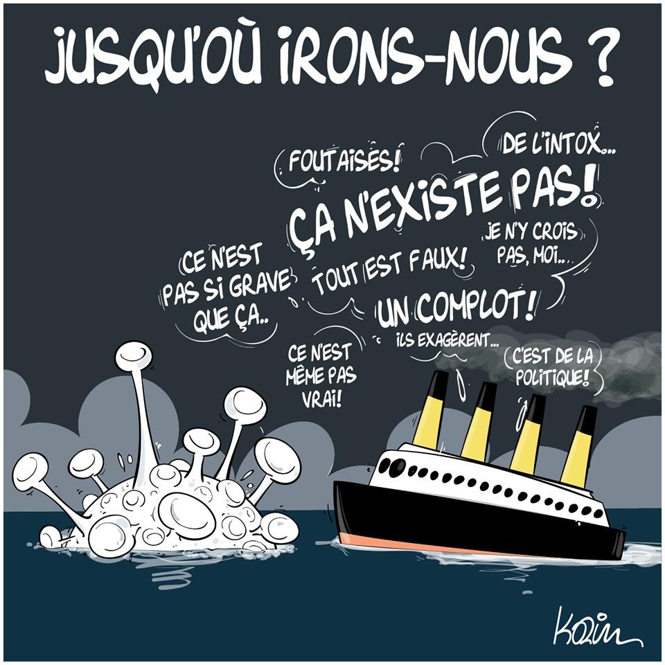 dessin d'actualité humoristique de Karim sur l'épidémie de coronavirus et le déni populaire