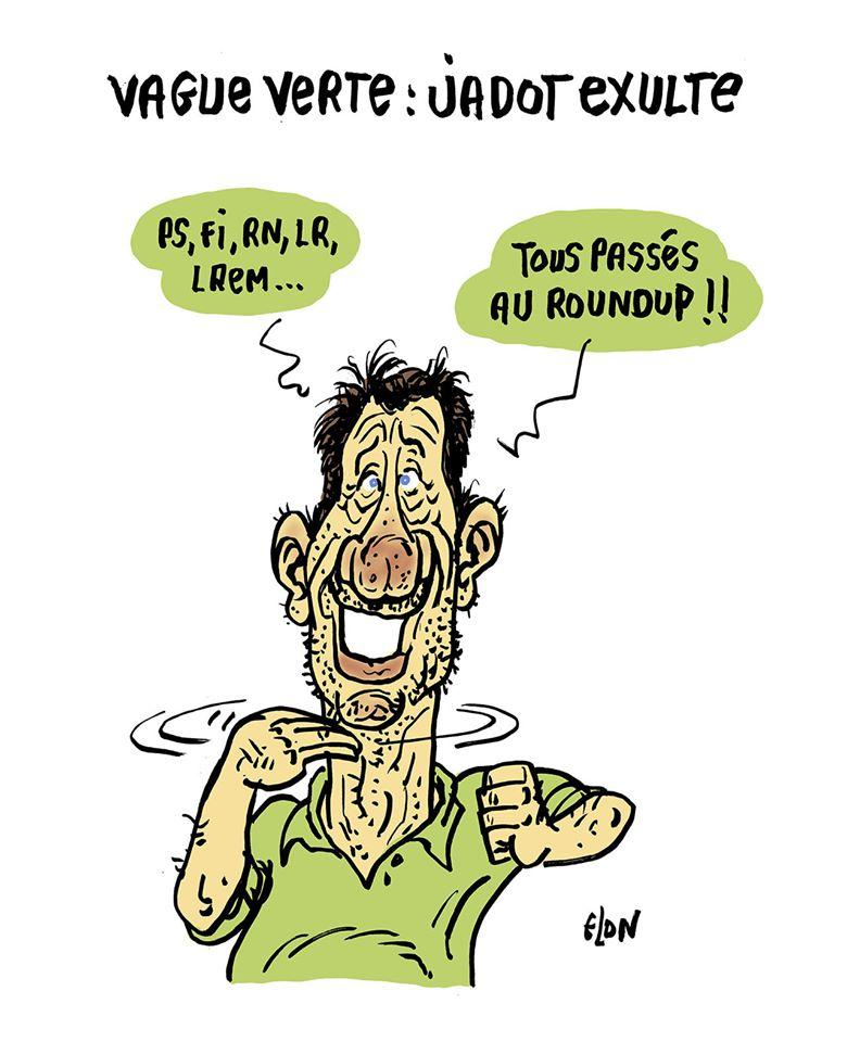 dessin humoristique de Glon sur la vague des partis écologistes aux élections municipales de 2020