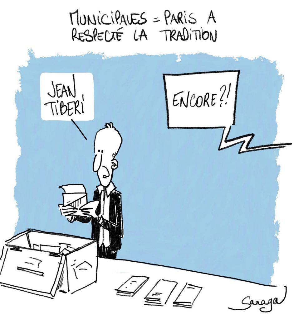 dessin d'actualité de Sanaga sur les élections municipales à Paris