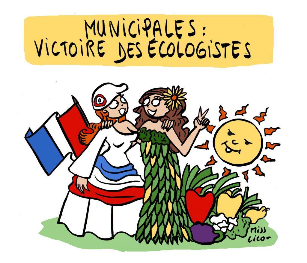 dessin de Miss Lilou sur la victoire des écologistes aux élections municipales de 2020
