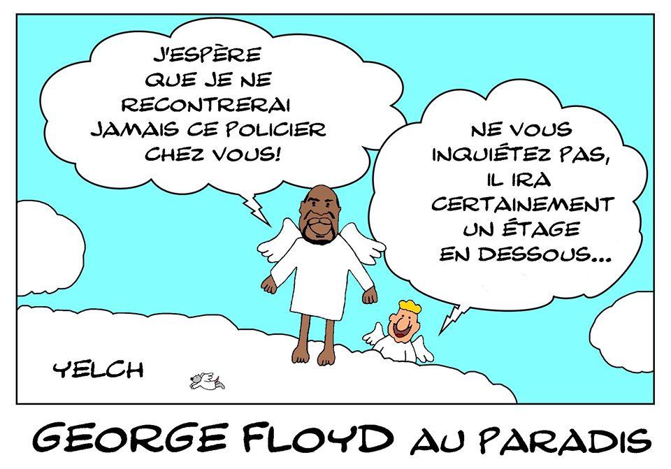 dessin de Yelch sur le racisme aux États-Unis et la mort de George Floyd