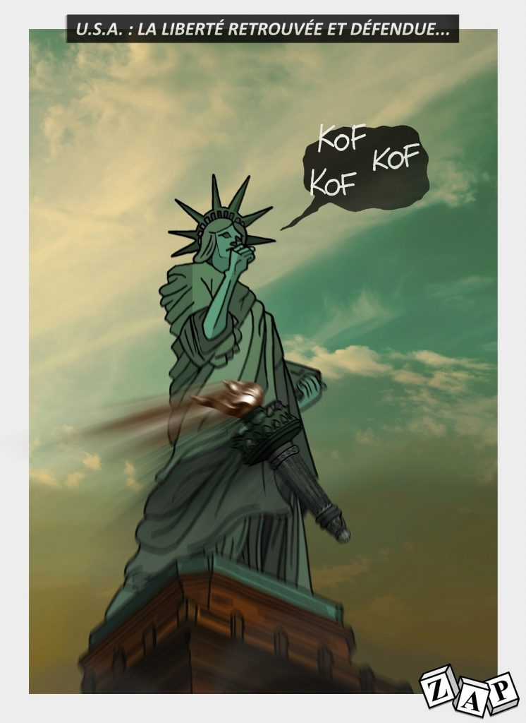 dessin d'actualité de Zap sur le déconfinement et les émeutes aux États-Unis