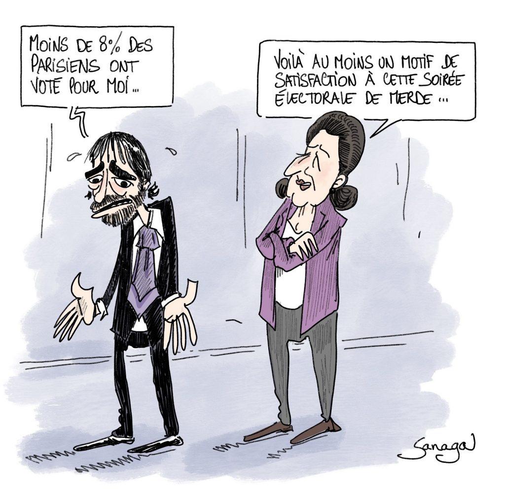 dessin d'actualité de Sanaga sur les élections municipales à Paris et les scores d'Agnès Buzyn et Cédric Villani