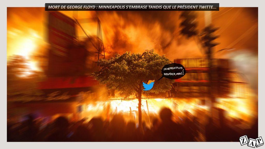 dessin d'actualité de Zap sur les émeutes suite au meurtre de George Floyd à Minneapolis aux États-Unis