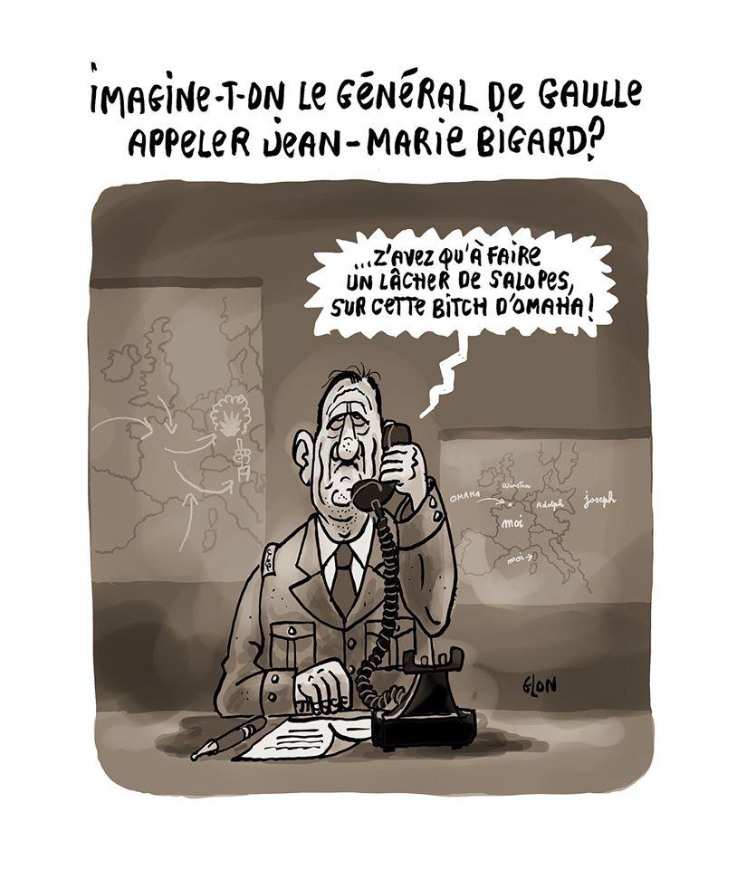 dessin humoristique de Glon sur l'appel d'Emmanuel Macron à Jean-Marie Bigard