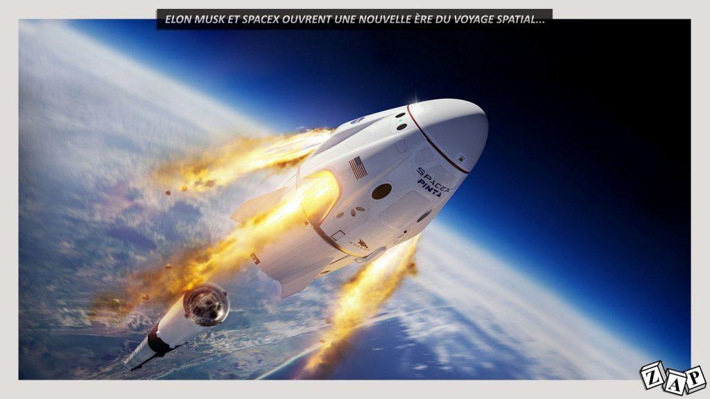 dessin d'actualité de Zap sur le lancement du premier vol habité de SpaceX