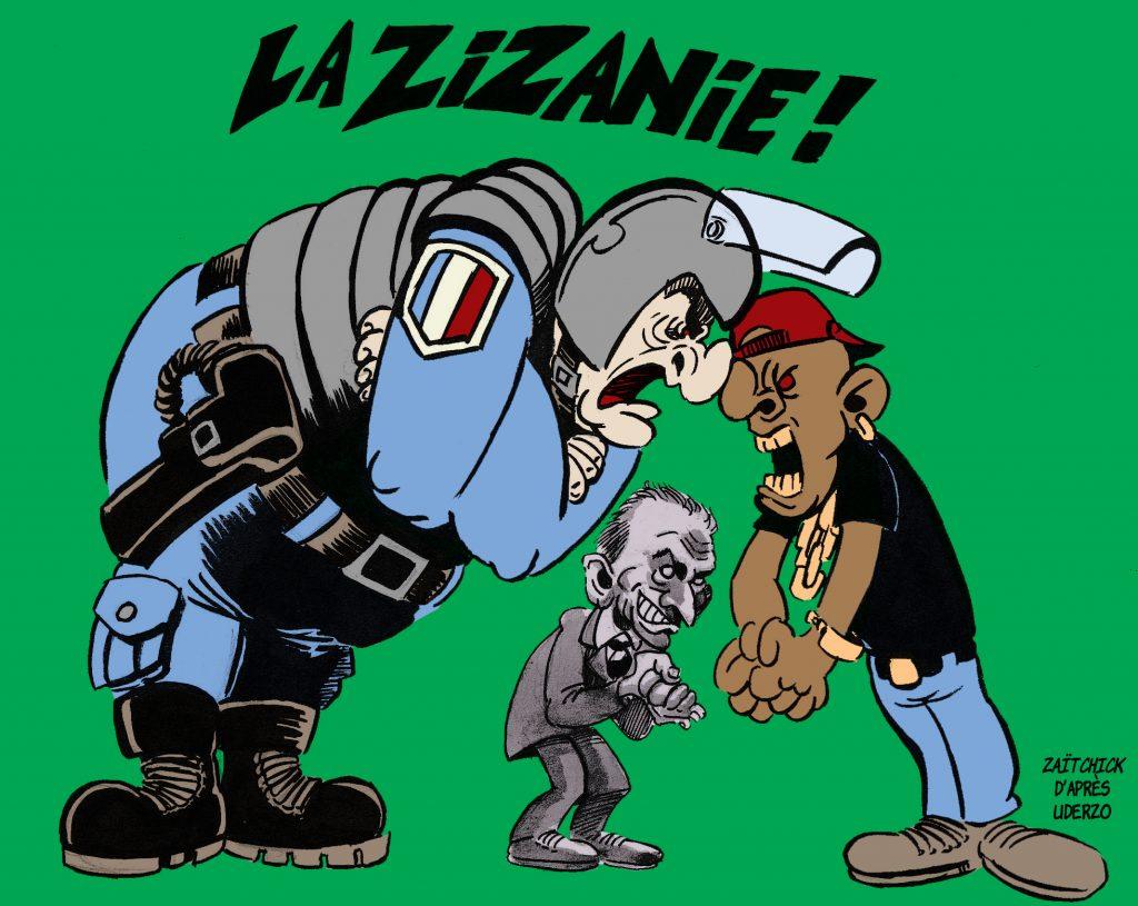 dessin de Zaïtchick sur les problèmes dans les banlieues en France et les violences policières