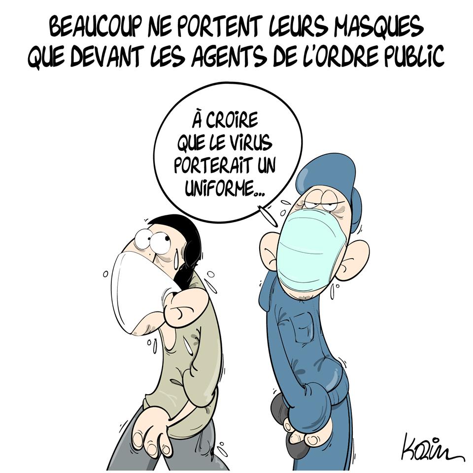 dessin d'actualité humoristique de Karim sur le coronavirus et le port du masque