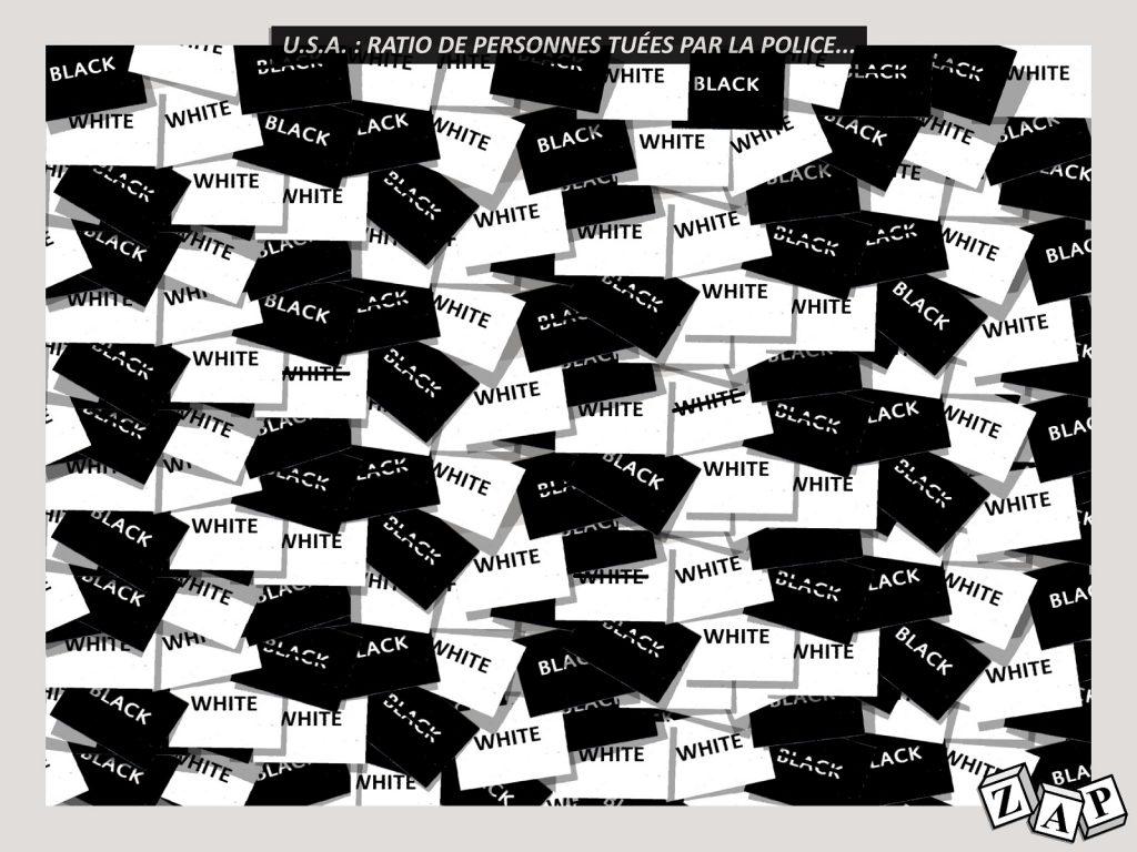 dessin d'actualité de Zap sur les personnes tuées par la police aux États-Unis