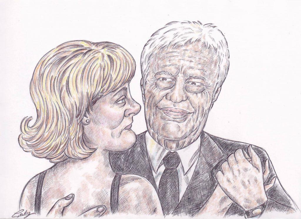 dessin d'actualité de L. Galy sur le décès de Guy Bedos et Nadine Morano