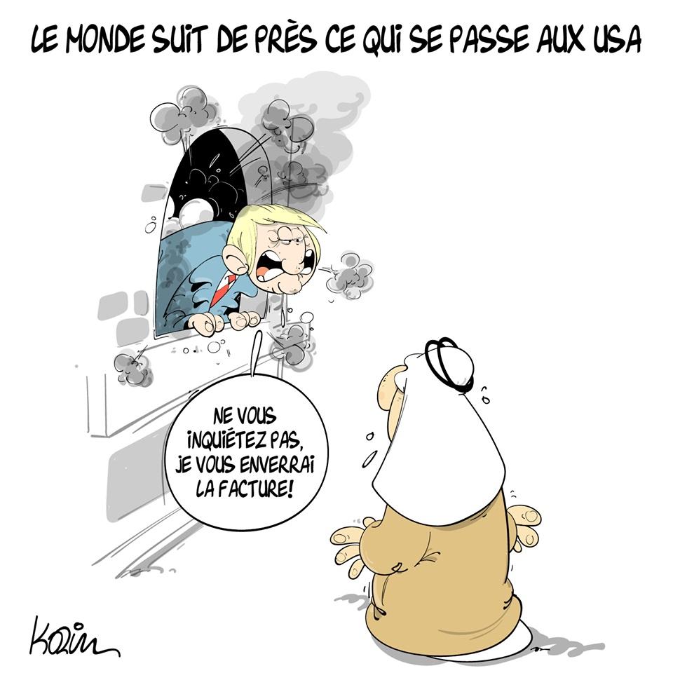 dessin d'actualité humoristique de Karim sur les émeutes aux États-Unis et Donald Trump