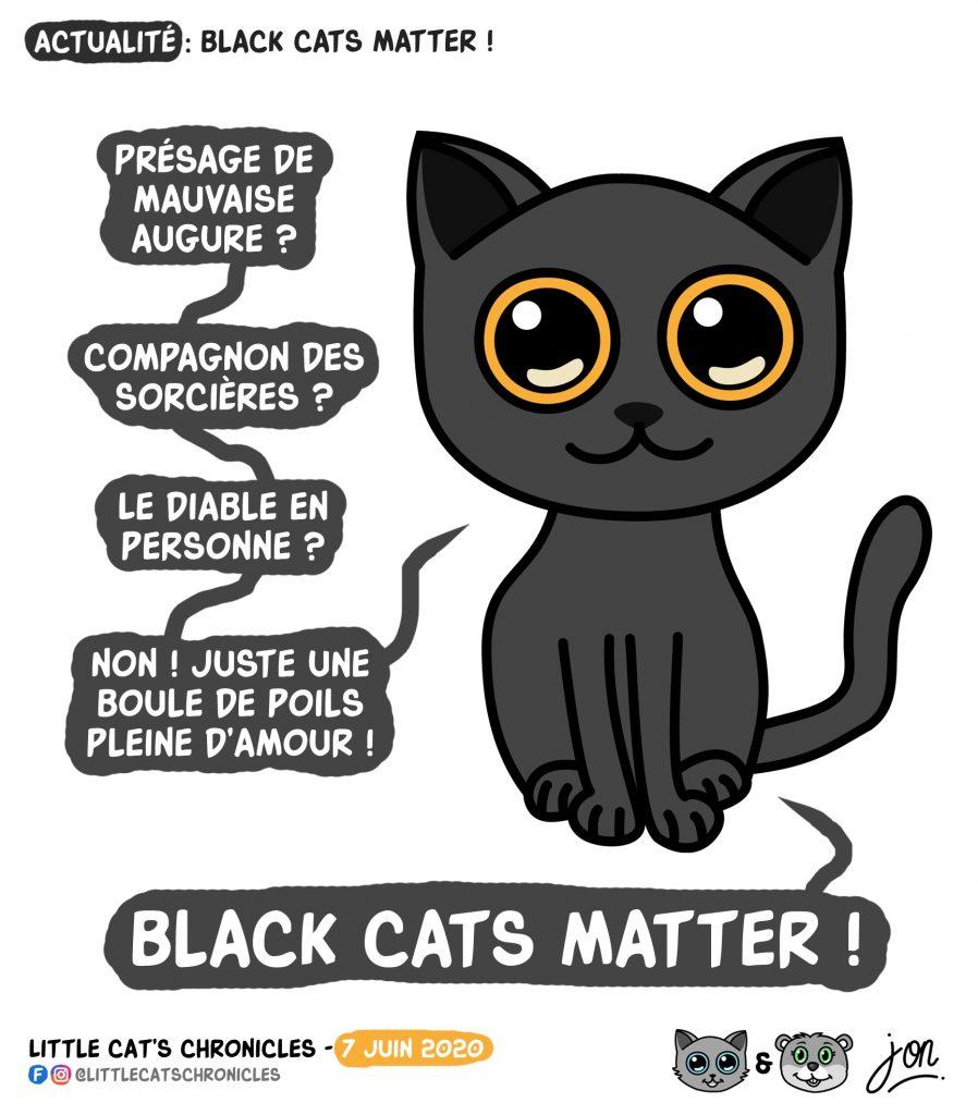 dessin humoristique des Little Cat's Chronicles sur les chats noirs et le mouvement black lives matter