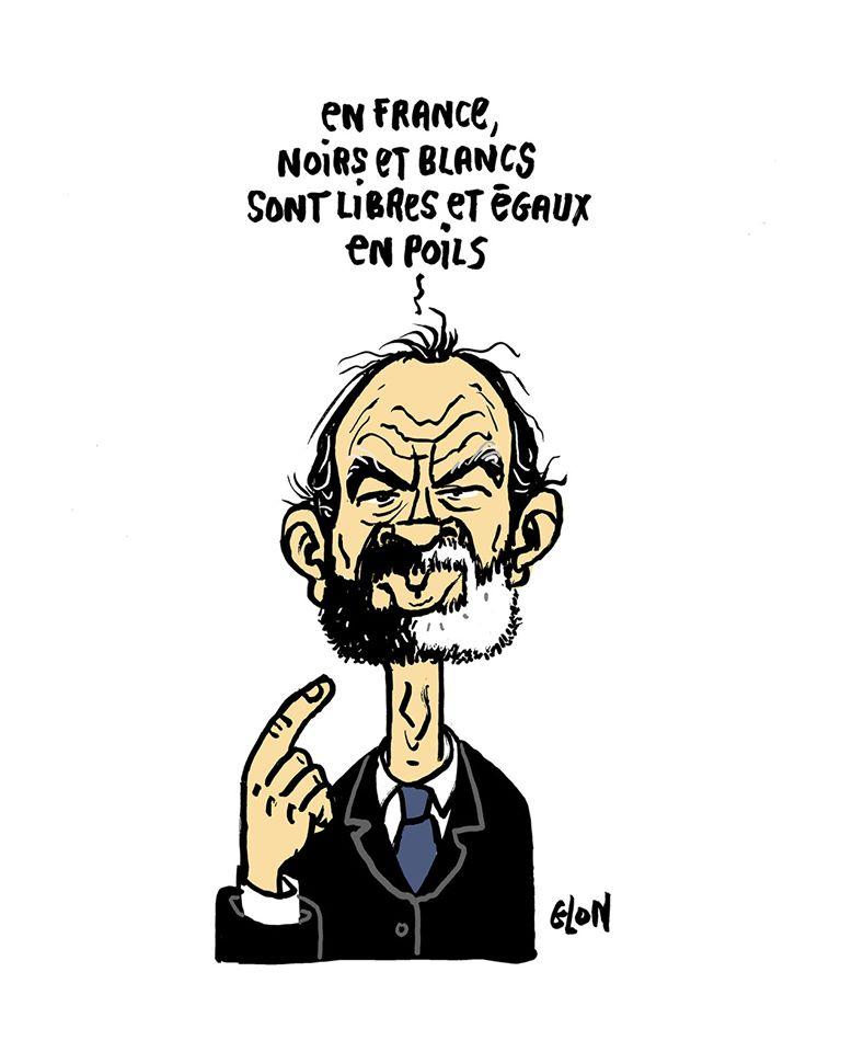 dessin humoristique de Glon sur Édouard Philippe, la France et le racisme