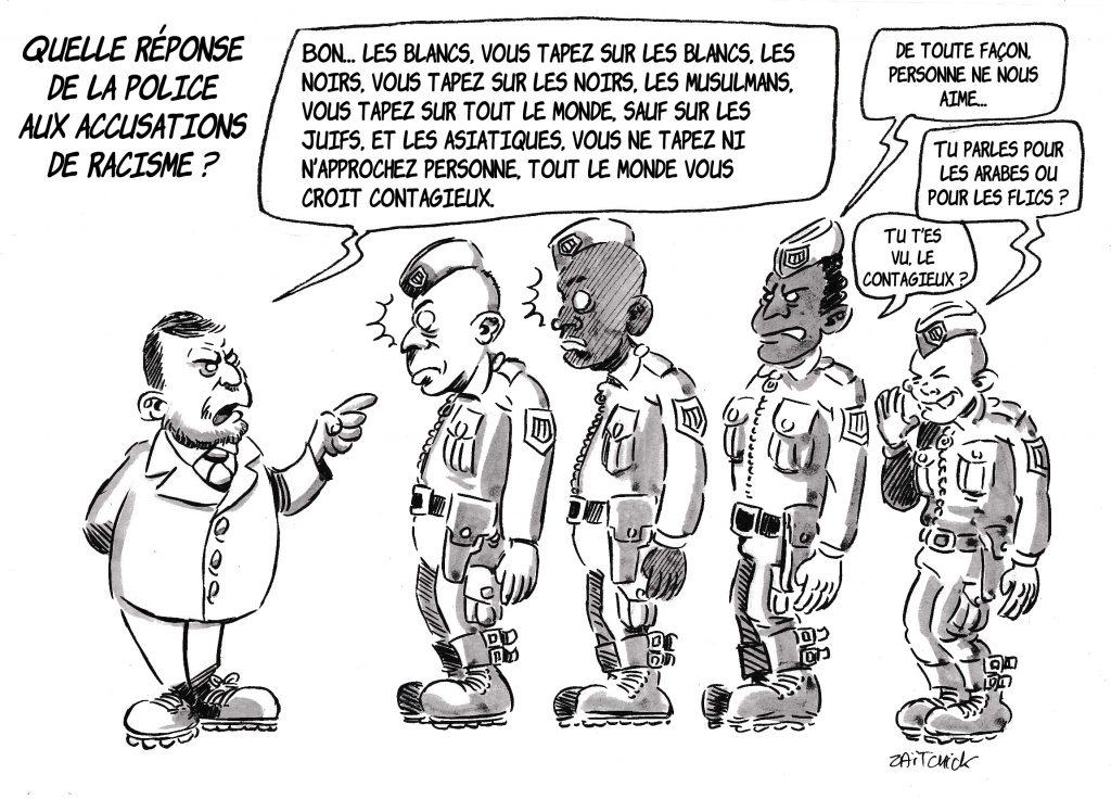 dessin de Zaïtchick sur Christophe Castaner et la réponse aux accusations de racisme dans la police