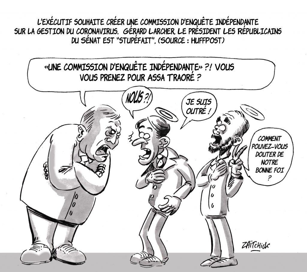 dessin de Zaïtchick sur Gérard Larcher et la commission d'enquête indépendante sur la crise du coronavirus