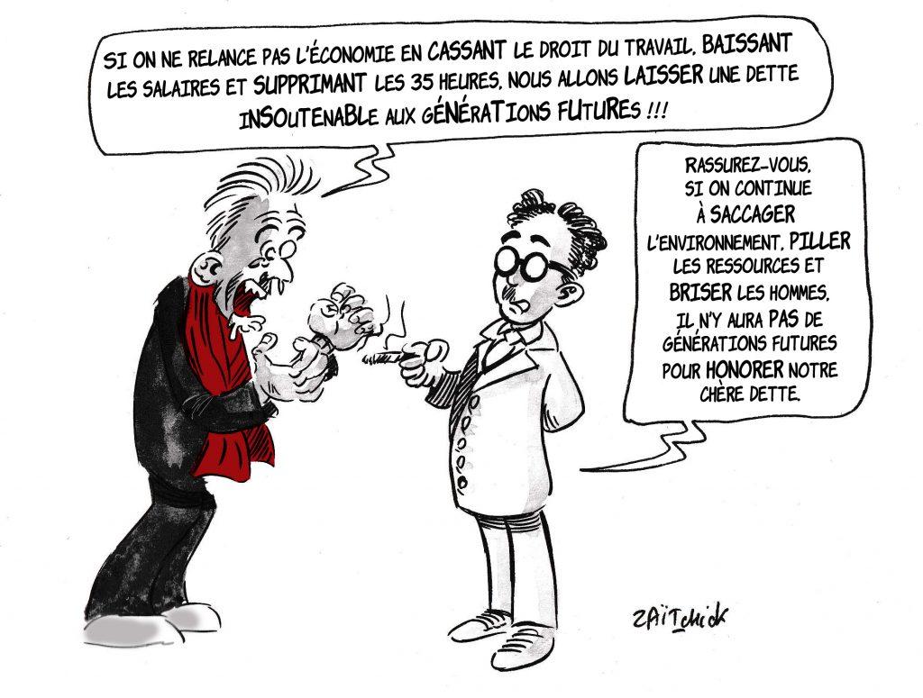 dessin de Zaïtchick sur Christophe Barbier et la casse sociale du monde d'après