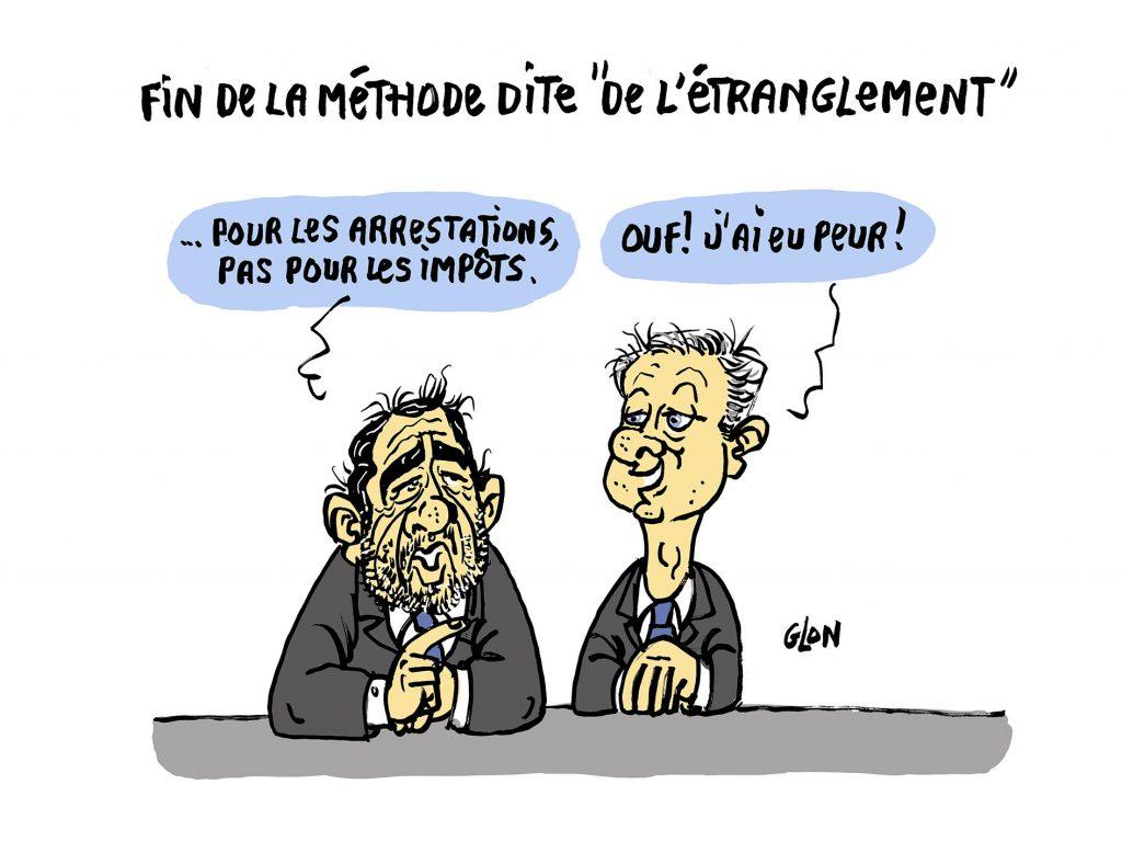 dessin humoristique de Glon sur Christophe Castaner et les violences policières et Bruno Le Maire et les violences fiscales