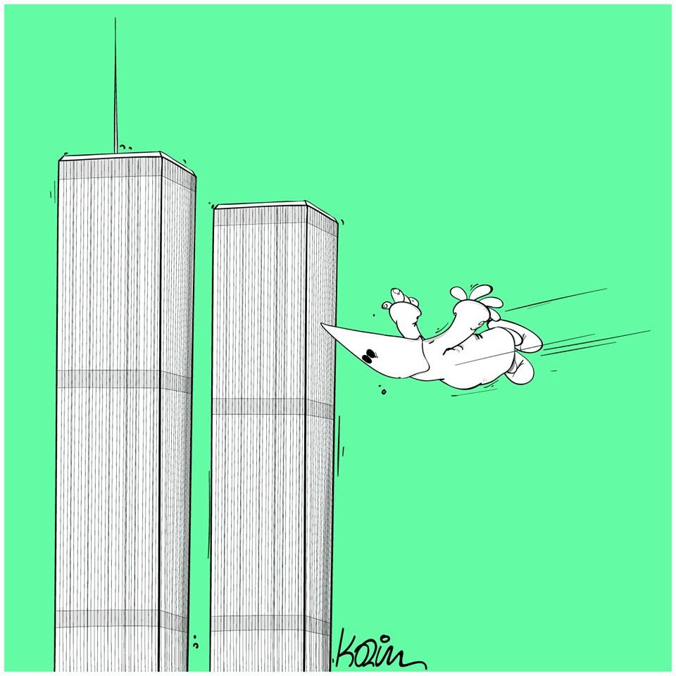 dessin d'actualité humoristique de Karim sur les émeutes aux États-Unis et le racisme d'extrême droite