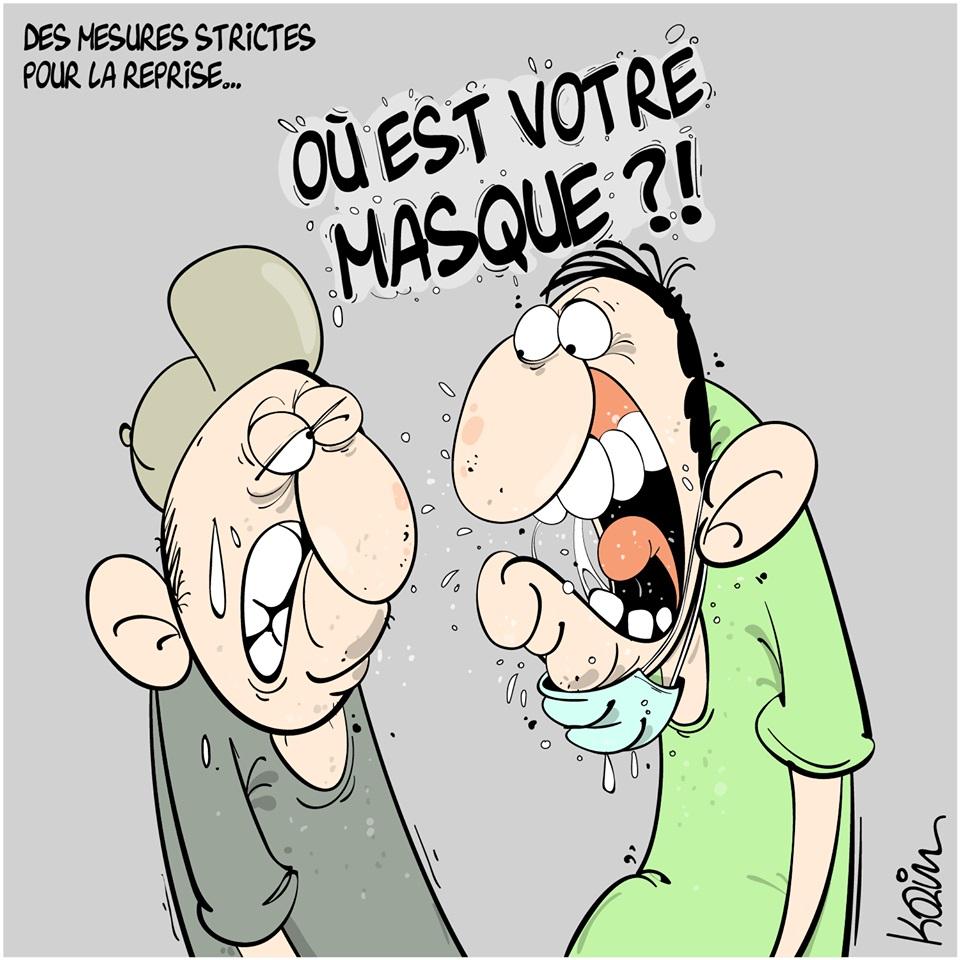 dessin d'actualité humoristique de Karim sur le coronavirus et les mesures sanitaires pour la reprise économique