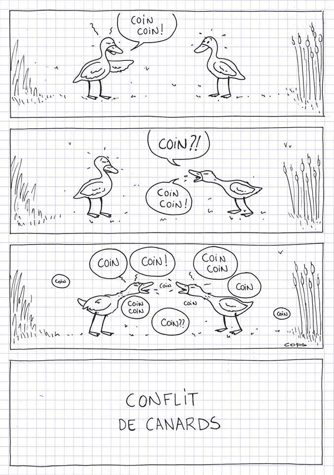 dessin de Cops sur les confits de canard et les conflits de canards