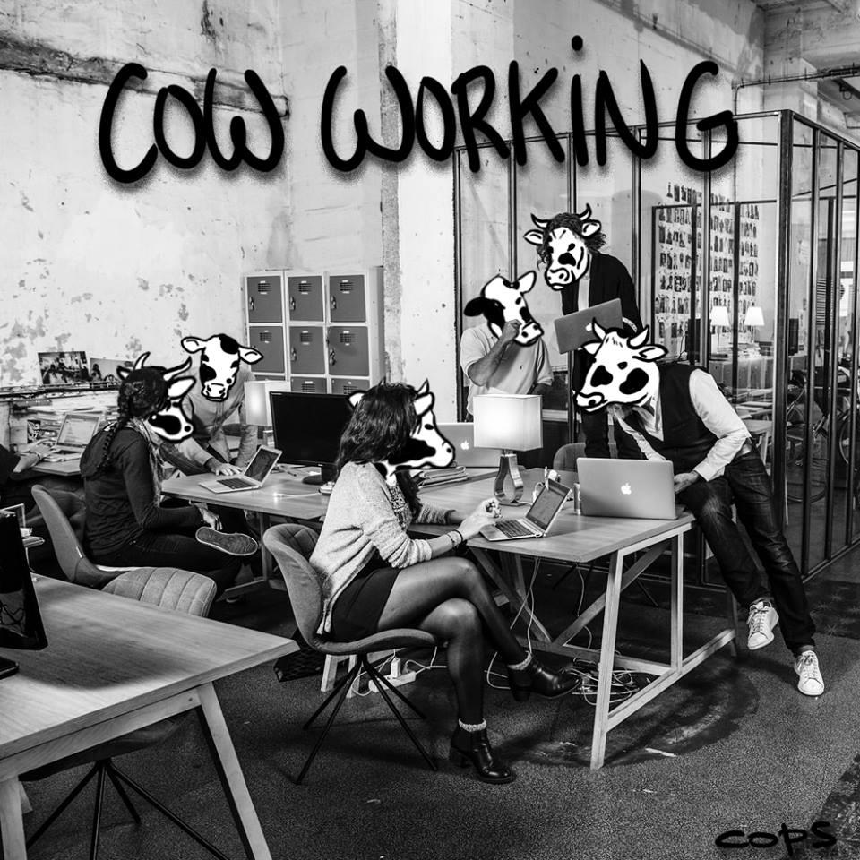 dessin de Cops sur le coworking et le cow working