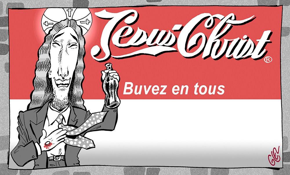 dessin humoristique de Glez sur les religions et Jésus-Christ