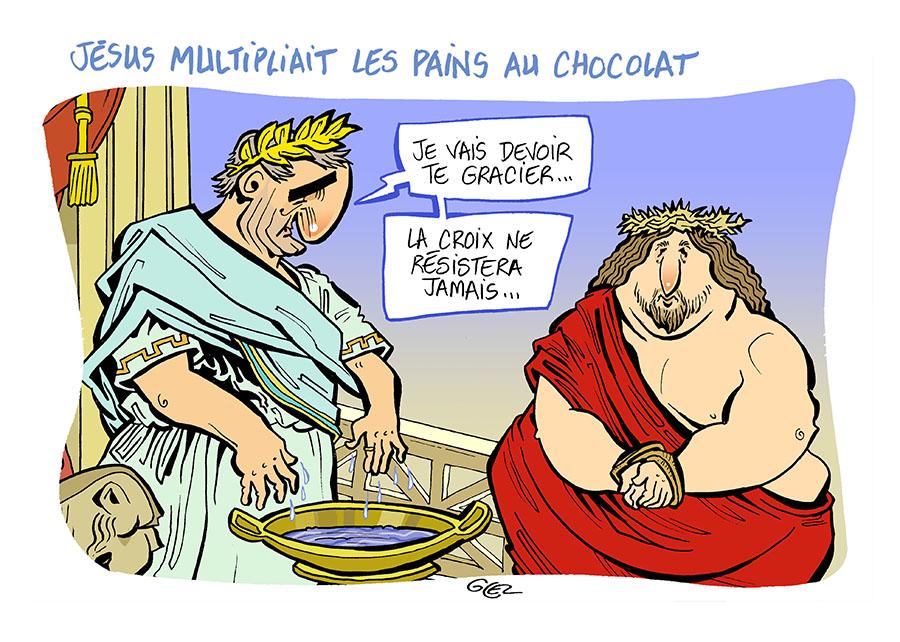 dessin humoristique de Glez sur les religions, Ponce Pilate et la crucifixion de Jésus-Christ