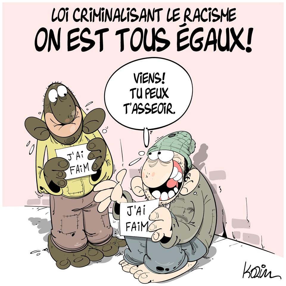 dessin d'actualité humoristique de Karim sur le racisme, la pauvreté et l'égalité
