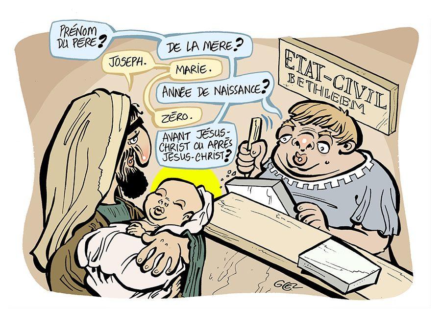 dessin humoristique de Glez sur les religions, et la naissance de l'enfant Jésus