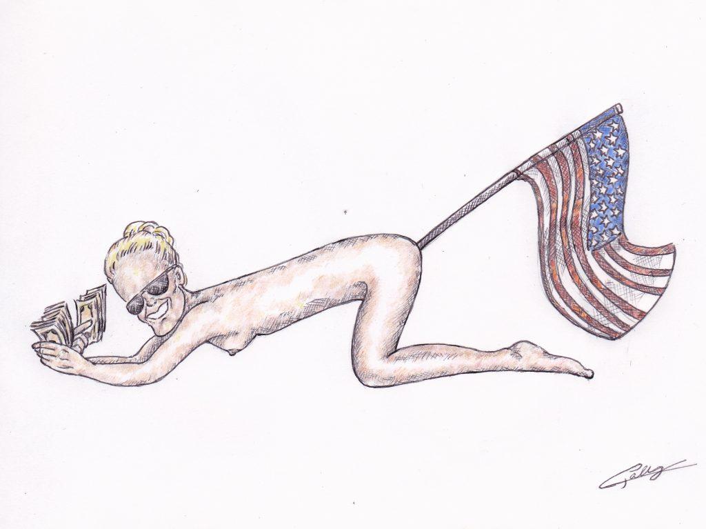 dessin d'actualité de L. Galy sur Laeticia Hallyday et l'héritage de Johnny Hallyday