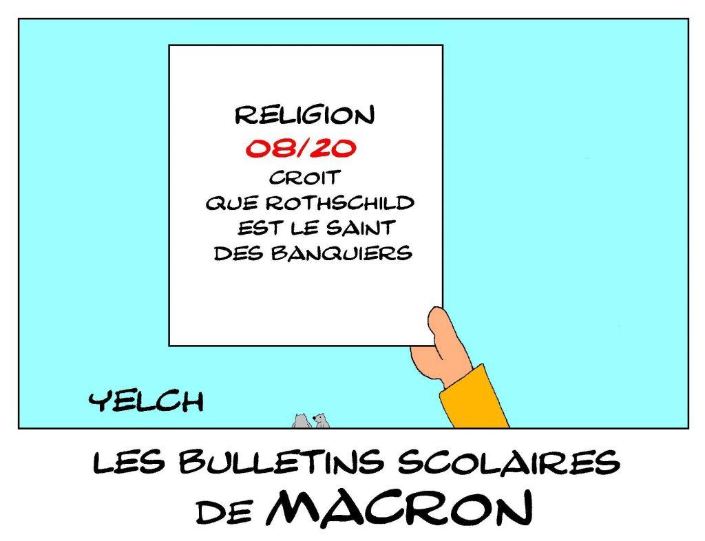dessin de Yelch sur les bulletins scolaires d'Emmanuel Macron