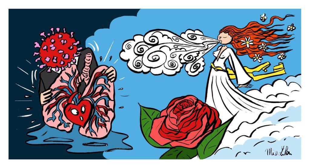 dessin de Miss Lilou sur les maladies respiratoires et le coronavirus