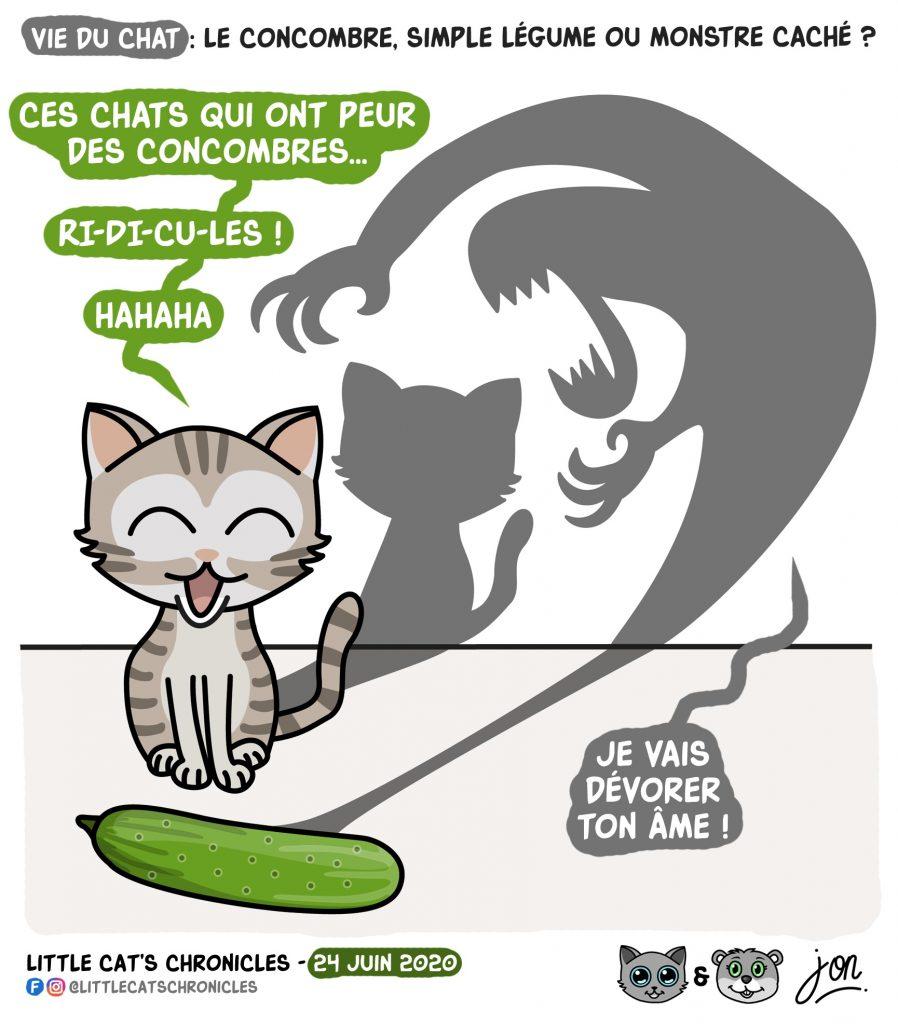 dessin humoristique des Little Cat's Chronicles sur les chats et la peur des concombres