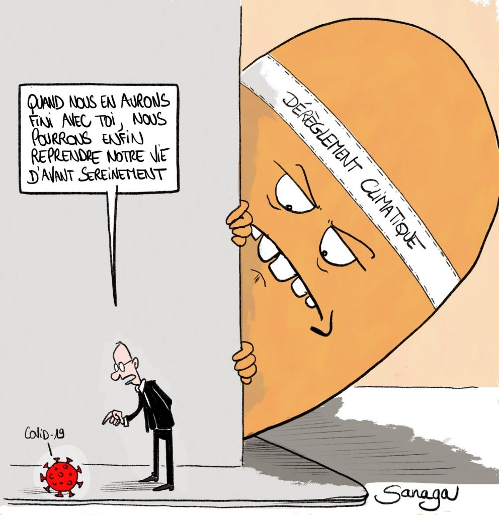 dessin d'actualité de Sanaga sur le coronavirus et le dérèglement climatique